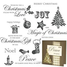 """Close to My Heart My Acrylix Stamp Set Christmas Love  Set of 12  Recommended My Acrylix® Blocks:  2"""" × 2"""" (Y1003), 2"""" × 3½"""" (Y1009), 2"""" × 6½"""" (Y1010)    $17.95"""