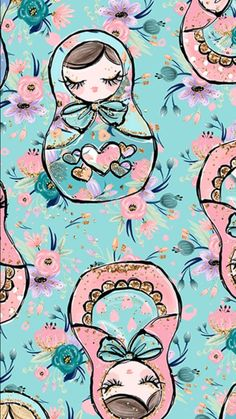 Russian nesting dolls pattern on aquamarine phone wallpaper * lock screen. Cute Wallpaper For Phone, Computer Wallpaper, Iphone Wallpaper, Inspirational Wallpapers, Cute Wallpapers, Wallpaper Backgrounds, Bath And Beyond Coupon, Illustrations, Doll Patterns