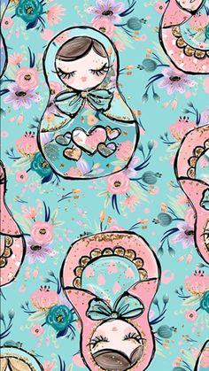 Russian nesting dolls pattern on aquamarine phone wallpaper * lock screen. Cute Wallpaper For Phone, Computer Wallpaper, Iphone Wallpaper, Inspirational Wallpapers, Cute Wallpapers, Phone Backgrounds, Wallpaper Backgrounds, Bath And Beyond Coupon, Illustrations