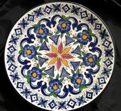 Made in Spain marroquí placa decorativa 70 Ceramar flores azul