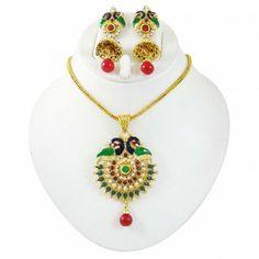 Pendent Necklace Sets Kundan Jewelry Set Goldtone CZ Stone Ethnic Jewellry Kundan Jewellery Set, Jewelry, Necklace Set, Ethnic, Traditional, Stone, Handmade, Jewlery, Rock