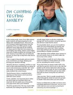 """""""In the coming weeks, many of our older primary  grade students will begin preparing for and taking state standardized tests.""""~ Talitha McGuinness. More tips on helping your children stay calm through testing in the newest Spring 2014 Issue of Multiplicity!"""