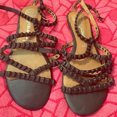 Jeffery Campbell skull sandals In great condition, lots of straps and comes up around the ankle. And little black skulls all over Jeffrey Campbell Shoes Sandals