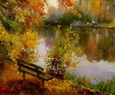 Artist Roman Belyaev Beauty in Art Dream Pictures, Fall Pictures, Pictures To Paint, Landscape Art, Landscape Paintings, Beauty In Art, Autumn Painting, Painting Gallery, Cross Paintings
