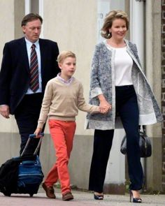 Queen Mathilde of Belgium arrives with her son Prince Emmanuel on the first day of school at the Eureka special school in Kessel-Lo, Belgium on 01 Sept 2015