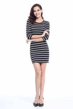 Fashion White Striped Dress Long Sleeve Casual Dress KW  Lalbug  Winter   NewYear   de46928641e8