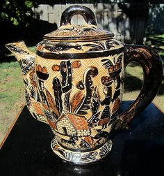 RARE Amazing Vintage 30s Tlaquepaque Mexican Pottery Coffee Pot Lucano Petatillo