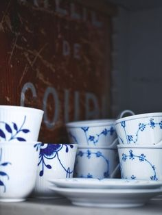 """""""Musselmalet Mega"""", the new version of musselmalet from Royal Copenhagen. Very expensive danish china. ($65 pr. cup)"""