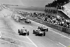 """legendsofracing: """" José Froilán González and Juan Manuel Fangio get a clean start with their Maserati A6GCM:s at the French Grand Prix in 1953. They would finish third and second, behind Mike Hawthorn. """""""
