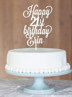 birthday name cake topper 21st cake gold cake by CommunicakeIt, $55.00