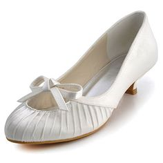 "Dyeable Chic 1.5"" Ruffle & Almond Toe Pumps - Ivory Casual shoes (11 colors)  Slip-on, Pumps, Block Heel, Kitten Heel, Almond Toe, Wedding, Casual, Satin, Leatherette,"