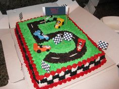Race Car Cake Decorations | The below is not my cake, but I made few from round cakes, and also ...