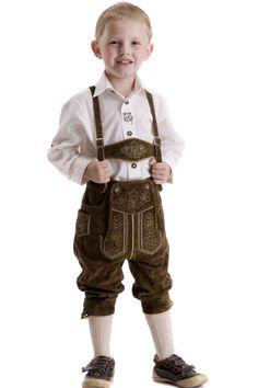 #Kinder_Lederhose Tobias, braun ~~~ Trachten #Kniebundlederhose für Buben