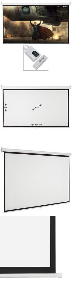 Projection Screens and Material: 100 Electric Motorized Remote Projection Screen Hd Movie Projector White 16:9 -> BUY IT NOW ONLY: $64.97 on eBay!