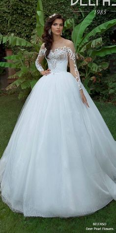 Lace Wedding Dresses Ball Gown Long Sleeves Off Shoulder Bridal Gown MATTIAS