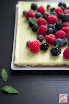 Lemon Verbena Berry Cheesecake Slice from www.dessertfirstgirl.com