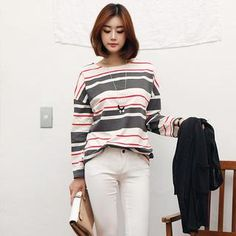 Buy 'Stylementor – Drop-Shoulder Long-Sleeve Striped Top' with Free International Shipping at YesStyle.com. Browse and shop for thousands of Asian fashion items from South Korea and more!