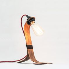 Vintage wooden table lamp / Rustic walnut от CraftedbyOitenta