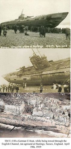 A beached German U-Boat in Hastings, England. was being towed after the war when the towline broke. It was probably an eerie sight for beachgoers. Old Pictures, Old Photos, German Submarines, Abandoned Ships, Navy Ships, World War One, Hastings England, Interesting History, British History