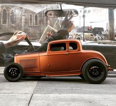 Classic Hot Rod, Classic Cars, Vintage Racing, Vintage Cars, Hot Rod Trucks, Chevy Trucks, Car Man Cave, Ford Roadster, Traditional Hot Rod