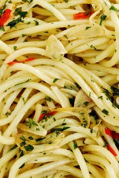 PASTA AGLIO, OLIO E PEPERONCINO - NYT Cooking: This late-night Roman staple is astonishingly full-flavored. Start the water before you do anything else, because the sauce takes less than 10 minutes start to finish. Pasta Recipes, My Recipes, Dinner Recipes, Cooking Recipes, Favorite Recipes, Cooking Pasta, Pasta Food, Noodle Recipes, Dinner Ideas