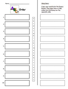 ABC Order Practice to the Third Letter Printable