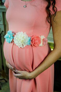 Aqua Ivory Coral maternity sash, Pregnancy Sash, mom to be, gender reveal sash, Baby Shower Sash, Peach Sash, Boy/girl sash Maternity photos by AnniesChicBowtique on Etsy