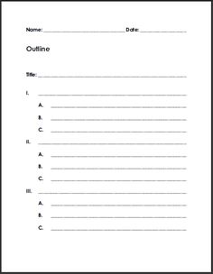 free printable blank outline for writing summaries or reports - Example Of Outline Essay Writing