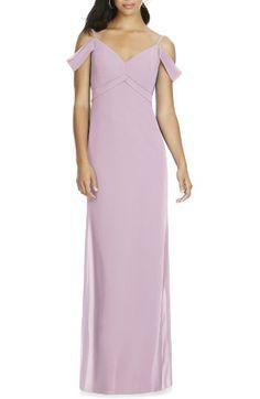Social Bridesmaids Social Bridesmaids V-Neck Chiffon Cold Shoulder Gown available at #Nordstrom