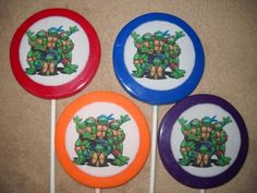 """1 chocolate edible decal 3"""" TMNT teenage mutant ninja turtle 
