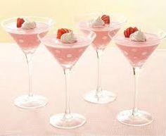 Strawberry pudding in Martini glass