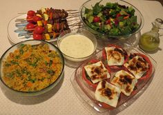 Millet pilaf, seitan kabobs with dipping sauce, garden salad with lemony dressing, tomatoes with basil Mediterranean, all recipes from my upcoming cookbook, Dinner is Served.