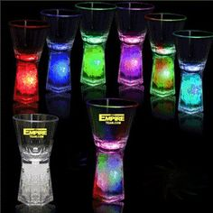 These would be cool for a party! LED's illuminate the unique and dazzling bottom of this 1 shot glass for a brilliant effect. Click the bottom button to choose from individual colors, combination colors and a spectacular rainbow effect.
