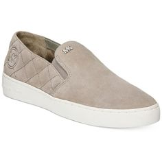 Michael Michael Kors Keaton Quilted Slip-On Sneakers ($60) ❤ liked on Polyvore featuring shoes, sneakers, pearl grey, grey sneakers, quilted shoes, gray slip on sneakers, gray shoes and michael kors
