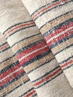 Antique European homespun hemp grain sack ~ lovely linen for bolster pillows, upholstery etc ~ stunning stripes!