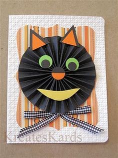 Halloween Cat and Pumpkins Cat Cards, Kids Cards, Crafts To Make, Crafts For Kids, Rubber Stamping Techniques, Chinese Paper Lanterns, Halloween Cat, Halloween Ideas, Paper Rosettes