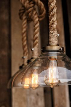 The Prestige Pendant Light - Industrial Rope Lighting fixture - Rustic Swag Ceiling Lamp - Glass Shade Hanging Lights - Modern brass