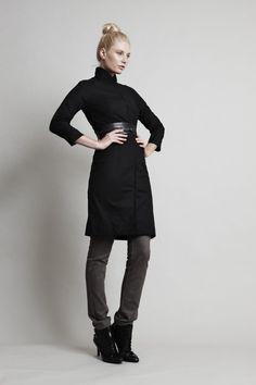 SALE 25% OFF - Jet Jacket - Black, long slim-line coat in stretch woven. $180.00, via Etsy.