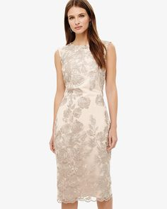 Phase Eight Rhea Lace Floral Dress Brown