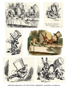 lice in Wonderland collage sheet Mad Hatter Tea Party