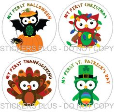 First Holidays Baby Onesie Stickers Boy or Girl - Owls Christmas School Halloween Easter Thanksgiving and More