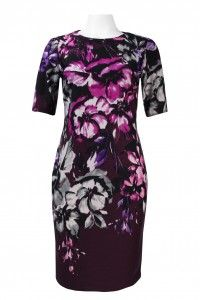 Taylor Half Sleeve Cutout Back Floral Print Ponte Sheath Dress