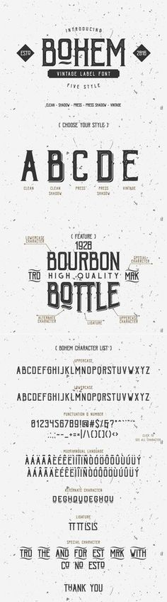 Bohem Press Free Vintage Font Bohem Press is a Free font with a vintage character coming from the inspiration of beer and brewery. This typeface is great to get your design the vintage touch. Therefore, it is suitable and applicable to create vintage branding, logos, product packaging, invitation, t-shirt design, and so much more!
