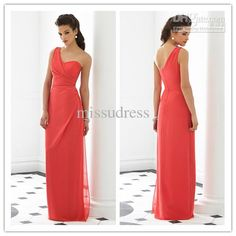 Wholesale Top seller cheap A line chifon one shoulder ruffled bodice zipper up full length evening dresses, Free shipping, $72.8-89.6/Piece | DHgate