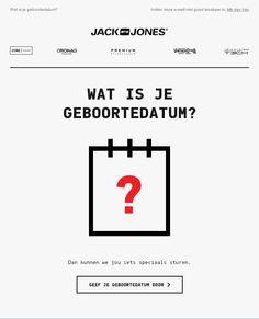 Jack & Jones - geboortedatum e-mail als onderdeel van hun #ecommerce #emailmarketing campagne. Voor meer welkomstmail inspiratie: http://www.mailplus.nl/e-mail-marketing-voorbeelden-deel-1-de-welkomstmail/