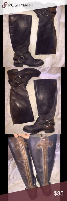 """Steve Madden Black Leather Boots Get the look without putting in the work! Gorgeous Distressed black leather with dark brown leather embellishments up the back. Large steel ring on inside and outside or footbed. Missing one feature inside right Boot, small strap that holds ring to footbed. See if you can spot in the pics.. hard to tell! 17"""" Boot, 14"""" shaft. 1"""" heel. 16"""" around calf. Steve Madden Shoes Combat & Moto Boots"""