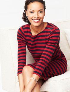 Talbots - Button-Shoulder Striped Dress | New Arrivals | Misses