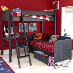 ed883737f7d Warwick high sleeper bed with daybed - prussian blue