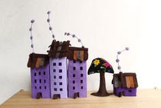 Four lilac buildings of felt with a tree. Miniature. by Intres, $35.00