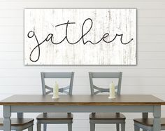 Modern Farmhouse Large Gather Sign, Rustic Wall Decor for Fall Autumn Thankskgiving, Shabby Country Primitive Farmhouse Kitchen Wall Decor Welcome your guests to gather in pure farmhouse style with this large gather sign. Its the perfect Dining Room Wall Art, Kitchen Wall Art, Room Wall Decor, Kitchen Decor, Kitchen Ideas, Farmhouse Kitchen Signs, Farmhouse Wall Decor, Modern Farmhouse, Farmhouse Style
